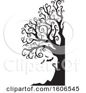 Clipart Of A Silhouetted Bare Twisting Spooky Tree With Halloween Vampire Bats Royalty Free Vector Illustration