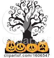 Group Of Halloween Jackolantern Pumpkins Under A Bare Tree