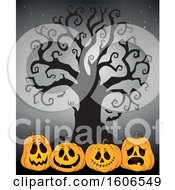 Group Of Halloween Jackolantern Pumpkins Under A Bare Tree On Gray