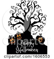 Group Of Silhouetted Jackolantern Pumpkins And Happy Halloween Text Under A Bare Tree