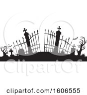 Clipart Of A Black Silhouetted Cemetery Entrance With Gates Royalty Free Vector Illustration