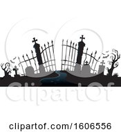 Silhouetted Cemetery Entrance With Gates