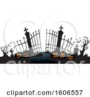Silhouetted Cemetery Entrance With Halloween Pumpkins And Gates