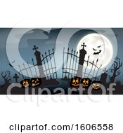 Silhouetted Cemetery Entrance With Halloween Jackolantern Pumpkins And Gates