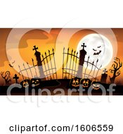 Silhouetted Cemetery Entrance With A Full Moon Halloween Pumpkins And Gates