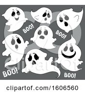Group Of Halloween Ghosts On Gray