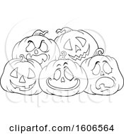 Lineart Group Of Carved Halloween Jackolantern Pumpkins