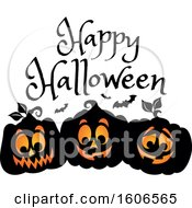 Clipart Of A Happy Halloween Greeting Over Black Illuminated Jackolantern Pumpkins And Bats Royalty Free Vector Illustration