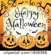 Clipart Of A Happy Halloween Greeting With A Full Moon Over Jackolantern Pumpkins And Bats Royalty Free Vector Illustration