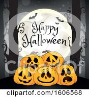 Clipart Of A Happy Halloween Forest And Jackolantern Pumpkin Background With A Full Moon And Bats Royalty Free Vector Illustration