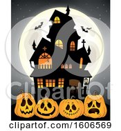 Clipart Of A Full Moon With Bats Behind A Haunted House And Halloween Jackolantern Pumpkins Royalty Free Vector Illustration