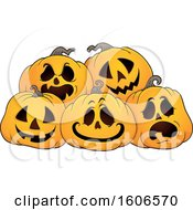 Clipart Of A Group Of Carved Halloween Jackolantern Pumpkins Royalty Free Vector Illustration
