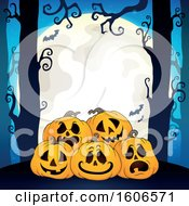 Clipart Of A Halloween Forest And Jackolantern Pumpkin Background With A Full Moon And Bats Royalty Free Vector Illustration