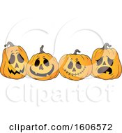 Clipart Of A Group Of Carved Halloween Pumpkins Royalty Free Vector Illustration