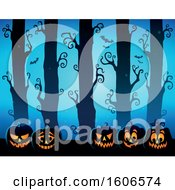 Clipart Of A Spooky Blue Halloween Forest With Bats And Jackolantern Pumpkins Royalty Free Vector Illustration