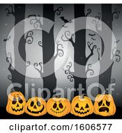 Clipart Of A Spooky Halloween Forest With Bats And Orange Jackolantern Pumpkins Royalty Free Vector Illustration