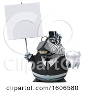 Clipart Of A 3d Business Zebra Holding A Tooth On A White Background Royalty Free Illustration by Julos