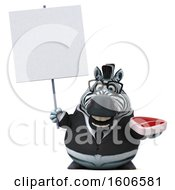 Clipart Of A 3d Business Zebra Holding A Steak On A White Background Royalty Free Illustration by Julos