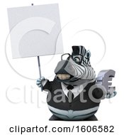 Clipart Of A 3d Business Zebra Holding A Euro On A White Background Royalty Free Illustration by Julos