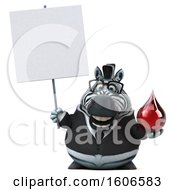 Clipart Of A 3d Business Zebra Holding A Blood Drop On A White Background Royalty Free Illustration by Julos