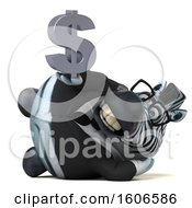 Clipart Of A 3d Business Zebra Holding A Dollar Sign On A White Background Royalty Free Illustration by Julos
