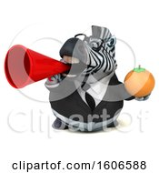 Clipart Of A 3d Business Zebra Holding An Orange On A White Background Royalty Free Illustration by Julos