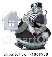 Clipart Of A 3d Business Zebra Holding A House On A White Background Royalty Free Illustration by Julos
