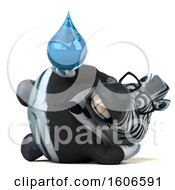 Clipart Of A 3d Business Zebra Holding A Water Drop On A White Background Royalty Free Illustration by Julos