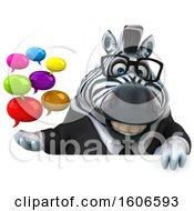 Clipart Of A 3d Business Zebra Holding Messages On A White Background Royalty Free Illustration by Julos