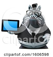 Clipart Of A 3d Business Zebra Holding A Tablet On A White Background Royalty Free Illustration