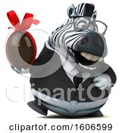 Clipart Of A 3d Business Zebra Holding A Chocolate Egg On A White Background Royalty Free Illustration