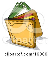 Cash And Credit Cards In A Leather Wallet Clipart Picture
