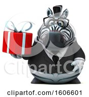 Clipart Of A 3d Business Zebra Holding A Gift On A White Background Royalty Free Illustration