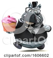 Clipart Of A 3d Business Zebra Holding A Cupcake On A White Background Royalty Free Illustration