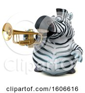 3d Zebra Playing A Trumpet On A White Background