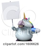3d Chubby Unicorn Holding A Pill On A White Background