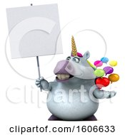 3d Chubby Unicorn Holding Messages On A White Background
