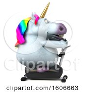 Clipart Of A 3d Chubby Unicorn Exercising On A Spin Bike On A White Background Royalty Free Illustration
