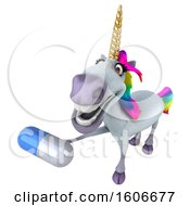 3d Unicorn Holding A Pill On A White Background