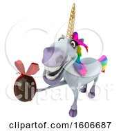 Clipart Of A 3d Unicorn Holding A Chocolate Egg On A White Background Royalty Free Illustration