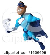 3d Buff Black Male Blue Super Hero Holding A Lira Currency Symbol On A White Background