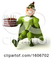 3d Buff White Male Green Super Hero Holding A Birthday Cake On A White Background