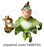 3d Buff White Male Green Super Hero Holding A Bitcoin On A White Background