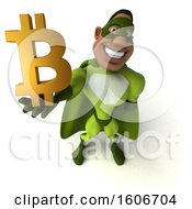 3d Buff Black Male Green Super Hero Holding A Bitcoin On A White Background