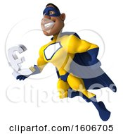 3d Buff Black Male Yellow And Blue Super Hero Holding A Lira On A White Background