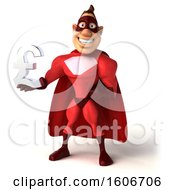 3d Buff Red White Male Super Hero Holding A Lira On A White Background