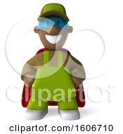3d Black Male Gardener Super Hero On A White Background