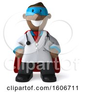 3d Short Black Male Super Doctor On A White Background