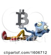 Clipart Of A 3d Blue Zombie Holding A Bitcoin Symbol On A White Background Royalty Free Illustration