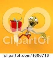 Clipart Of A 3d Zombie Holding A Gift On A Yellow Background Royalty Free Illustration by Julos